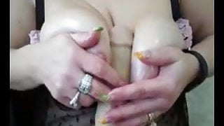 ssbbw playing with her nipples and tit fucking her new to