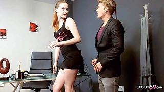 Ginger Teen Lyen Parker talk To Sex at Job Interview by Boss