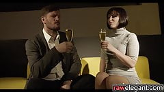 Glam euro babe blows dick before anal sex