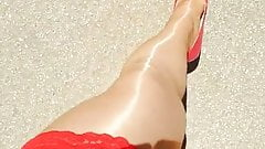 Pantyhose outside in the sunlight