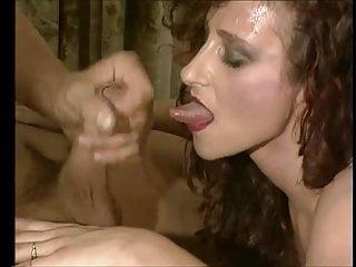 Nasty slut begging for cum - Nasty slut karin sucking, slurping and enjoying sperm flow