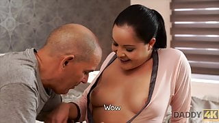 Old daddy uses opportunity to fuck stepson's amazing girlfriend