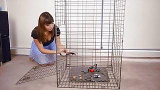 Self-Bondage In A Cage