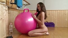 Solo Brunette Fun With Bouncing Exercise Balls