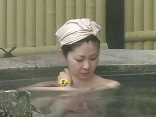 Japan amateur women Japan spring spa natural bush.