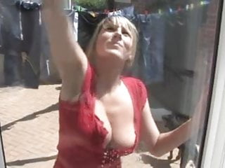 Downblouse big tits - Downblouse cleaning windows