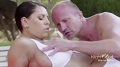 Brunette backyard fuck by the pool