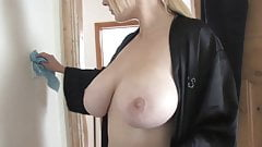 Busty house cleaner