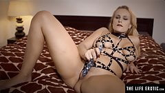 Sexy Milf with big tits loves fetish gear for her dildo play