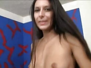 Brunnette naked girl - Skinny brunnette worships huge cock