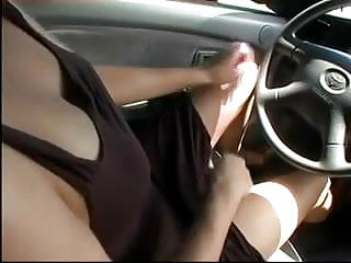 Sex while driving road Masturbation while driving 1