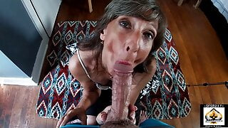 Sexy MILF Marie Passionately Sucks BWC and Swallows