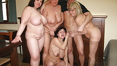 Gangbang with 4 mature busty moms and son
