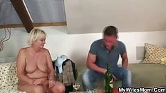 Blonde granny in white lingerie pleases son-in-law