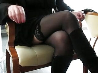 Public upskirt cafe interview - Girl check her stockings in public cafe