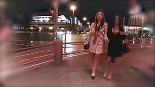 Horny lesbian babes sharing two hard pricks