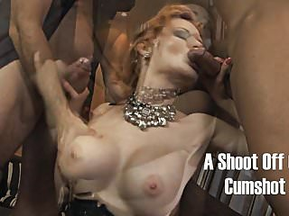 Amateur circle jerk on her face Redhead jerks two guys off on her face