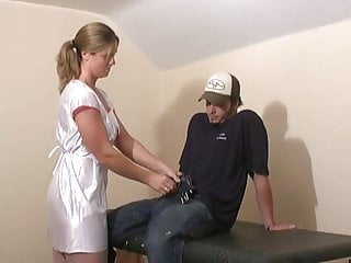 Jenni cumshot Jenny -evil nurse and the milking gloves