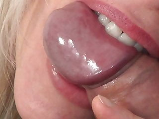 Up close penis Blonde girl bites guys penis until he cums