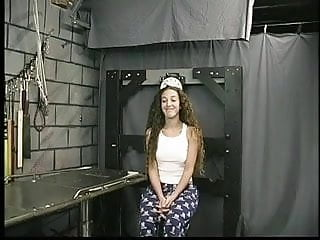Handjob on camera lens Cute young brunette with tattoo is restrained by master len in dungeon