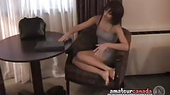 Black panties come off after shy girl gives in and strips to