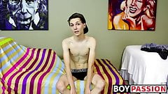 New cute and horny twink Trey Bentley interview and jack off