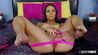 Latina Babe Shows Curves While Fingering Trimmed Pussy