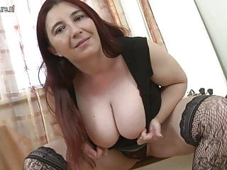 Big breasted weman - Big breasted mama playing with her tits and pussy