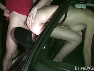 Dog face lick - Cum on kitty jane face through car window in public sex orgy