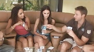 A group of young amateurs playing strip poker