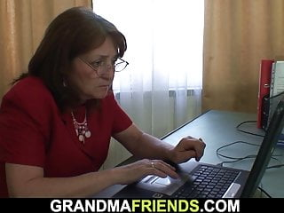 Granny double penetration tube - Busty office granny double penetration