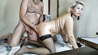 Kinky mature bitch slapped on the lips with a hard dick!