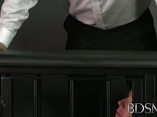 Uderage xxx Bdsm xxx ball-gagged submissive girls ass plugged and fucked
