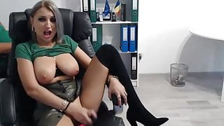 Busty Euro Secretary Wanks, Creams & Squirts on Office Chair