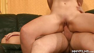 Horny couple fucking in threesome with Gina
