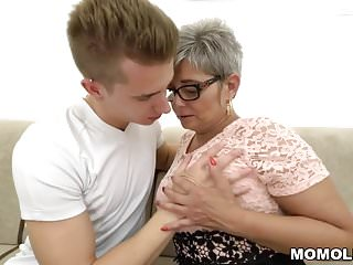 Big dick for mom Grandma deepthroats a young big dick before riding on it