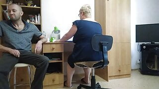 jerking off a dick on a secretary in the office