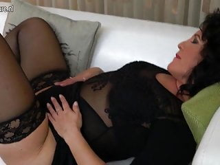 I fucked mom on the couch Horny mature slut mom playing on the couch