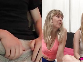 Trimo-san male penis reaction Masturbating on cam for mom and step daughter - reaction