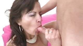 young man and mature woman with hairy by a pussy
