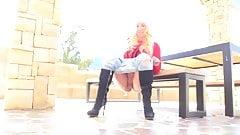 blonde girl peeing