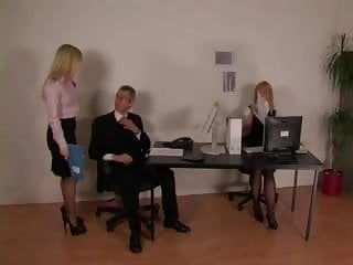 Spank and stocking Office dommes spank guy