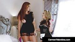 Hot Maids Carmen Valentina & Ivy Secret Tongue Fuck & Cum!