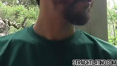 Latino guy getting a first taste of cock and becoming gay