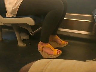 Sexy yellow boys Candid sexy feet in yellow wedges heels