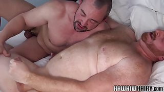 Chubby bear facialized after rimjob and anal