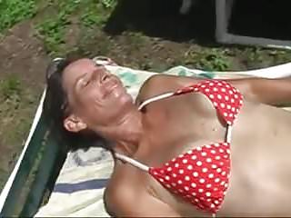 Mature wife sloppy pussy - Hairy sloppy pussy cougar fingering herself