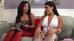 Lesbian Latina Milf get horny testing sextoys