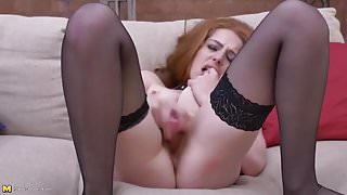 Naughty redhead MILF with hungry hairy pussy