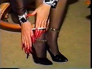 Hot sexy nails Hot cougar with sexy nails and heels smoking solo